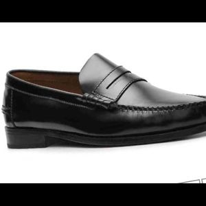 Florsheim black loafers dress shoes all leather